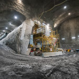The trinocular design of three intersecting tunnels takes shape